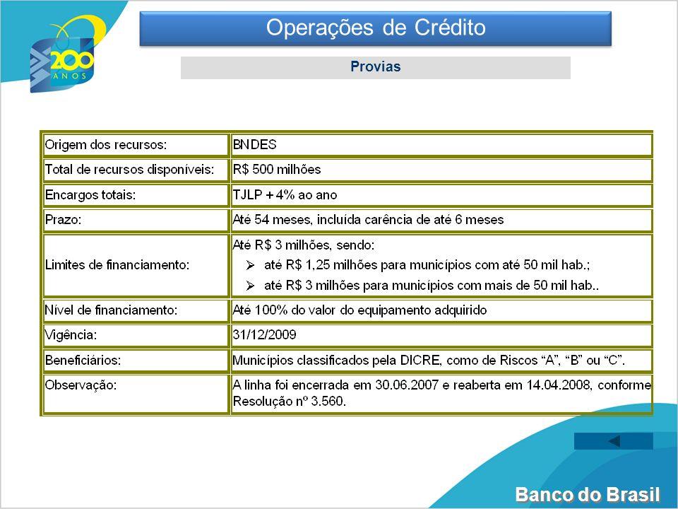 Banco do Brasil Operações de Crédito Provias