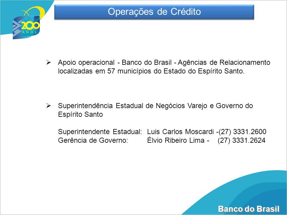 Banco do Brasil Apoio operacional - Banco do Brasil - Agências de Relacionamento localizadas em 57 municípios do Estado do Espírito Santo. Superintend