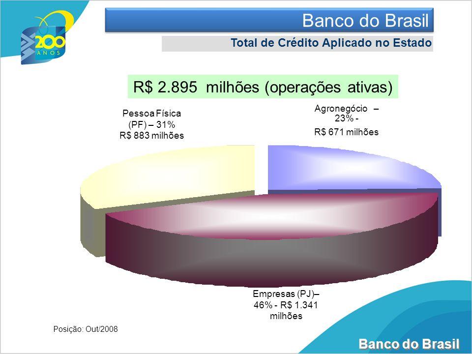 Banco do Brasil Total de Crédito Aplicado no Estado R$ 2.895 milhões (operações ativas) Pessoa Física (PF) – 31% R$ 883 milhões Agronegócio – 23% - R$
