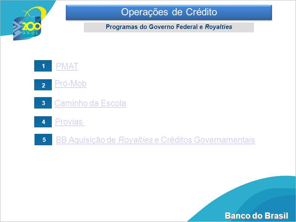 Banco do Brasil Pró-Mob Caminho da Escola BB Aquisição de Royalties e Créditos Governamentais PMAT Provias 1 2 3 4 5 Operações de Crédito Programas do