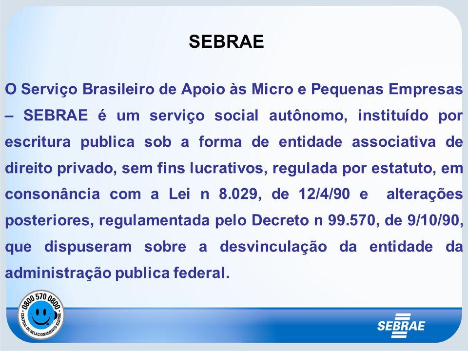 SEBRAE O Serviço Brasileiro de Apoio às Micro e Pequenas Empresas – SEBRAE é um serviço social autônomo, instituído por escritura publica sob a forma