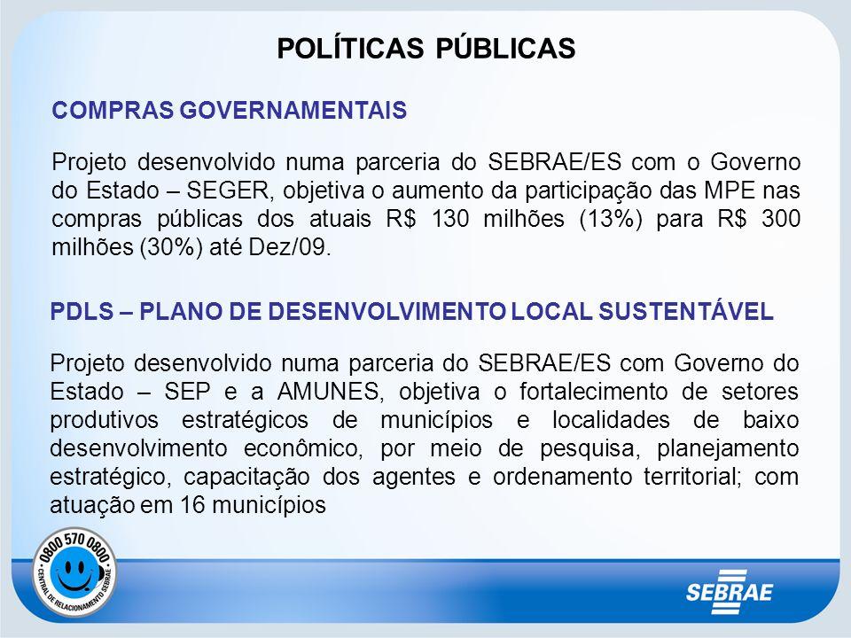 COMPRAS GOVERNAMENTAIS Projeto desenvolvido numa parceria do SEBRAE/ES com o Governo do Estado – SEGER, objetiva o aumento da participação das MPE nas