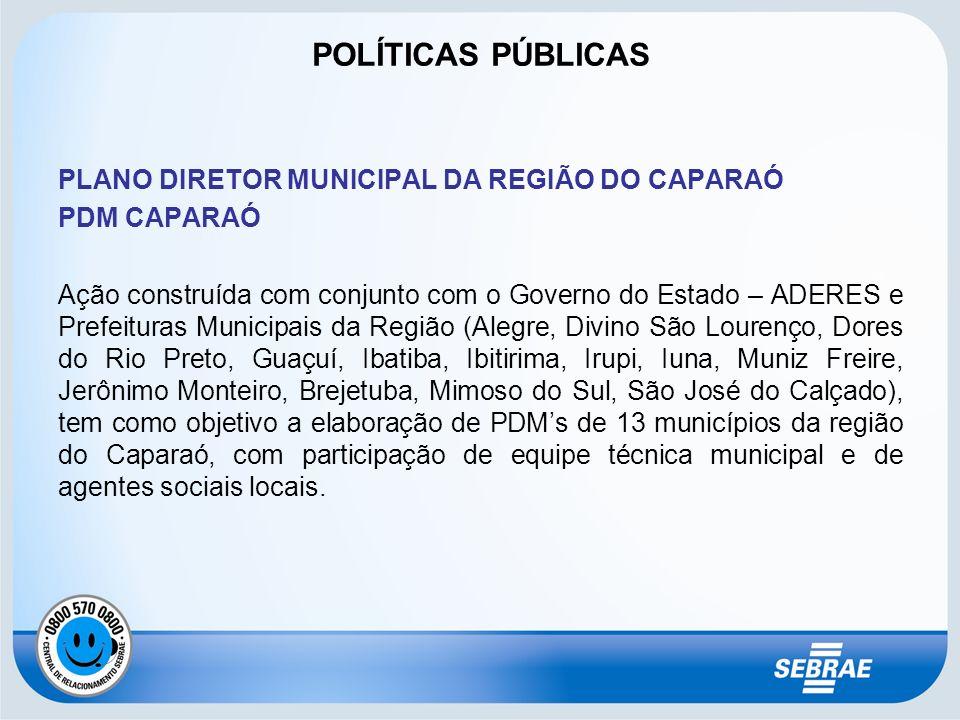 PLANO DIRETOR MUNICIPAL DA REGIÃO DO CAPARAÓ PDM CAPARAÓ Ação construída com conjunto com o Governo do Estado – ADERES e Prefeituras Municipais da Reg