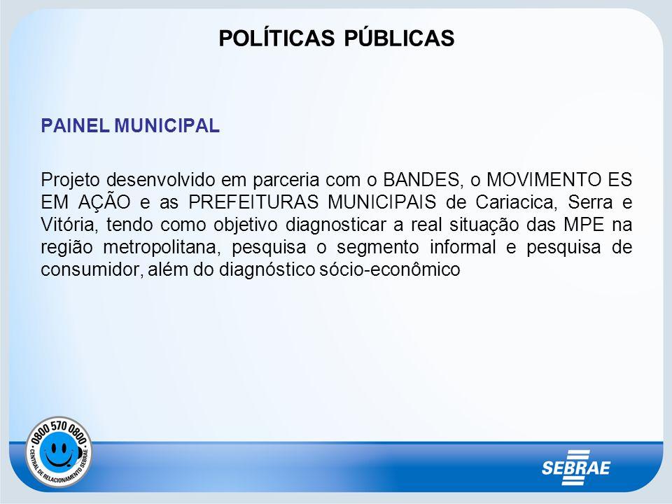 PAINEL MUNICIPAL Projeto desenvolvido em parceria com o BANDES, o MOVIMENTO ES EM AÇÃO e as PREFEITURAS MUNICIPAIS de Cariacica, Serra e Vitória, tend