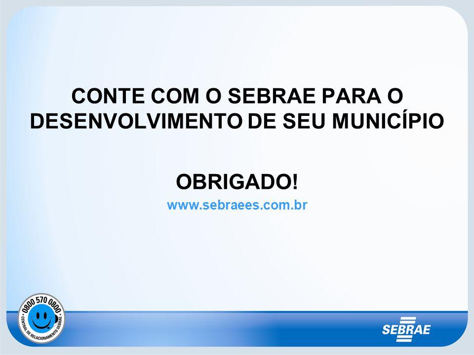 CONTE COM O SEBRAE PARA O DESENVOLVIMENTO DE SEU MUNICÍPIO OBRIGADO! www.sebraees.com.br