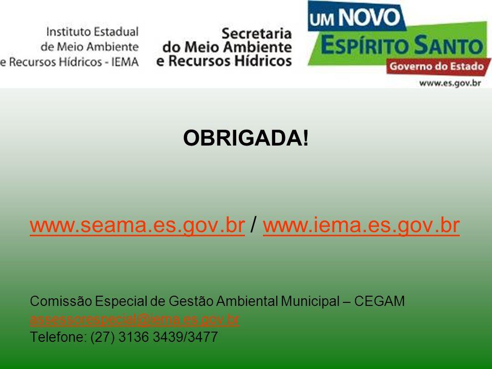 OBRIGADA! www.seama.es.gov.brwww.seama.es.gov.br / www.iema.es.gov.brwww.iema.es.gov.br Comissão Especial de Gestão Ambiental Municipal – CEGAM assess