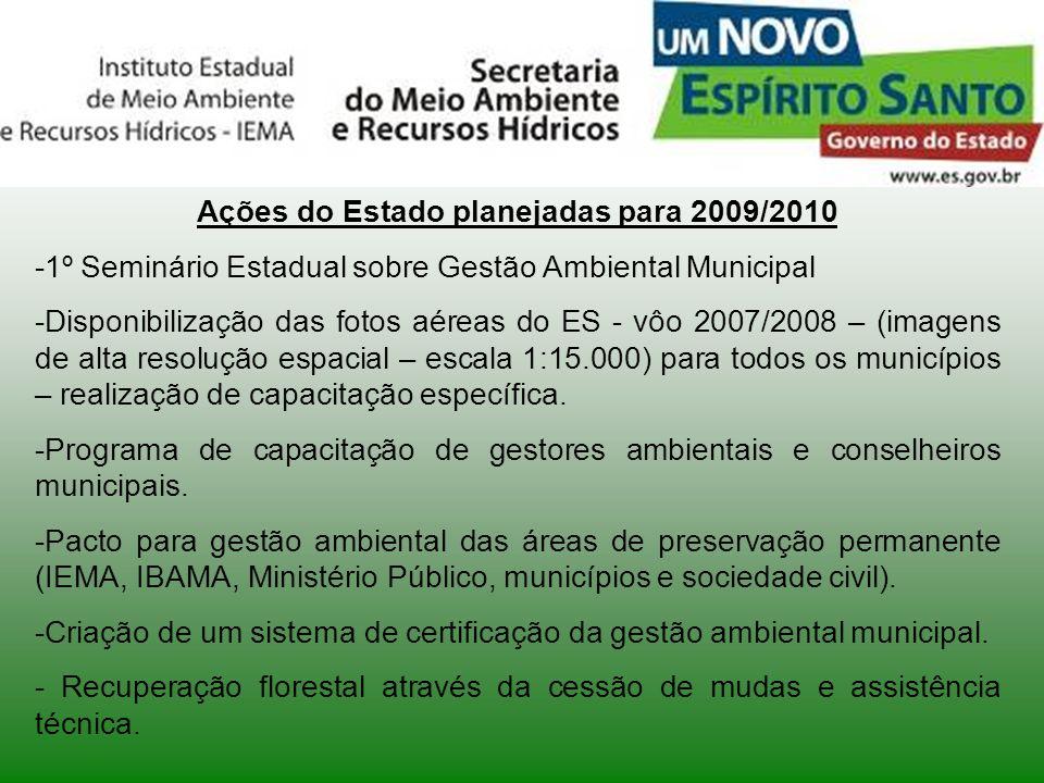 Seminário Sobre o Meio Ambiente Ações do Estado planejadas para 2009/2010 -1º Seminário Estadual sobre Gestão Ambiental Municipal -Disponibilização da