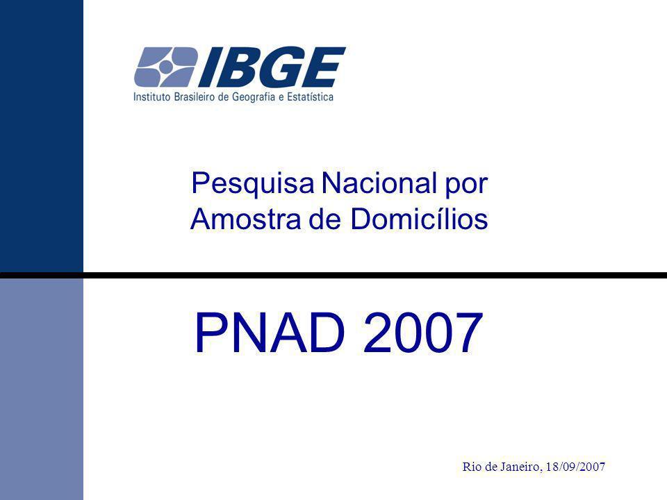 111 PNAD 2007 Rio de Janeiro, 18/09/2007 Pesquisa Nacional por Amostra de Domicílios