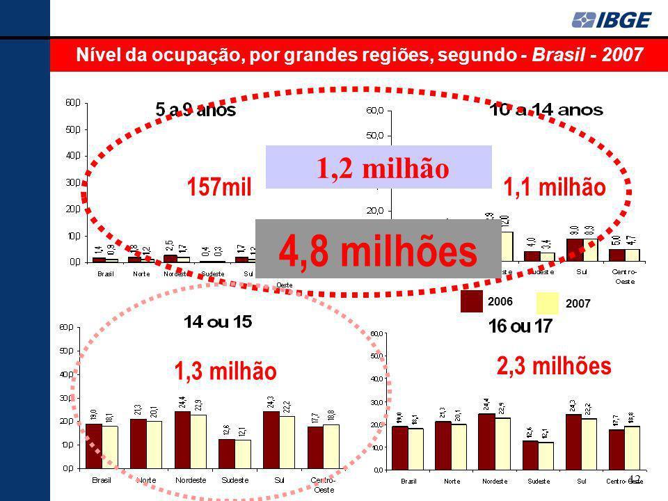 42 Nível da ocupação, por grandes regiões, segundo - Brasil - 2007 157mil1,1 milhão 1,3 milhão 2,3 milhões 2006 2007 4,8 milhões 1,2 milhão