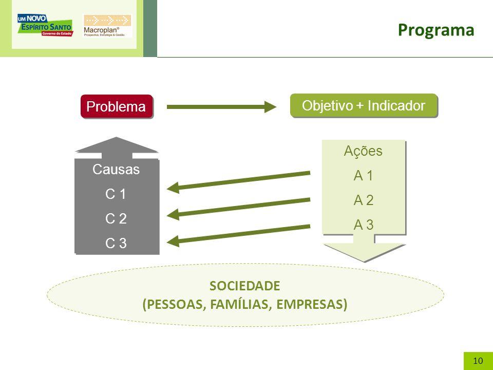 10 Programa Problema Objetivo + Indicador Causas C 1 C 2 C 3 Causas C 1 C 2 C 3 SOCIEDADE (PESSOAS, FAMÍLIAS, EMPRESAS) Ações A 1 A 2 A 3 Ações A 1 A