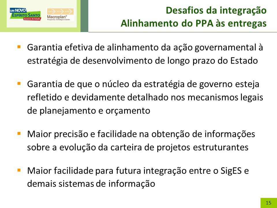 15 Desafios da integração Alinhamento do PPA às entregas Garantia efetiva de alinhamento da ação governamental à estratégia de desenvolvimento de long