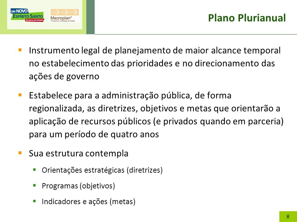 8 Plano Plurianual Instrumento legal de planejamento de maior alcance temporal no estabelecimento das prioridades e no direcionamento das ações de gov