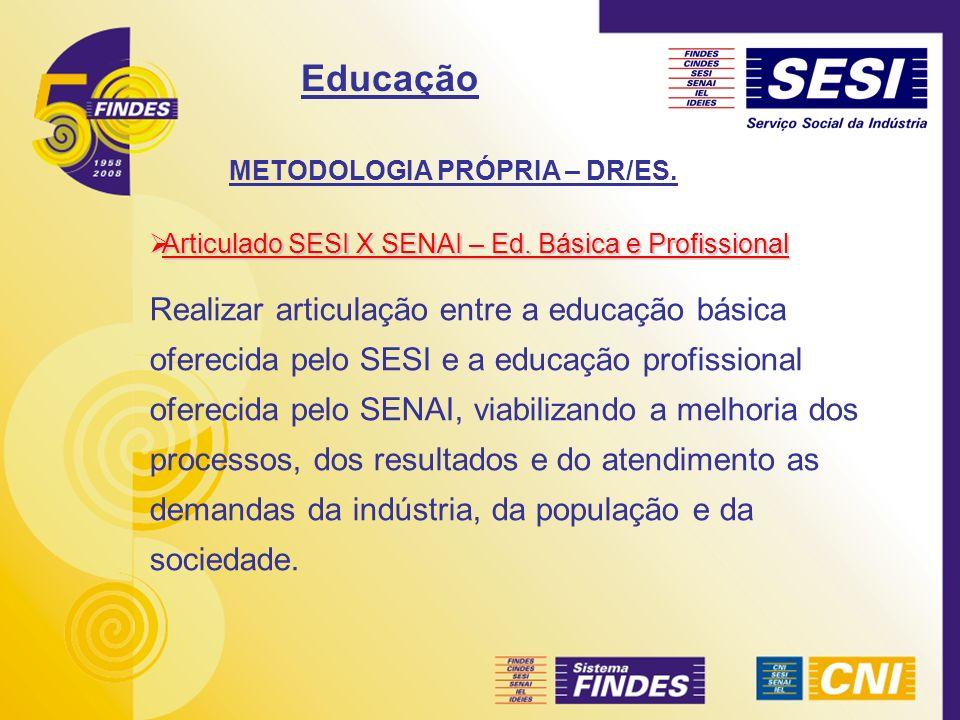 METODOLOGIA PRÓPRIA – DR/ES. Articulado SESI X SENAI – Ed. Básica e Profissional Articulado SESI X SENAI – Ed. Básica e Profissional Realizar articula
