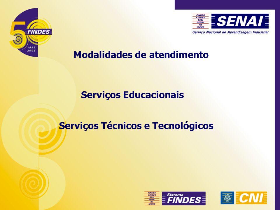 Serviços Educacionais Modalidades de atendimento Serviços Técnicos e Tecnológicos