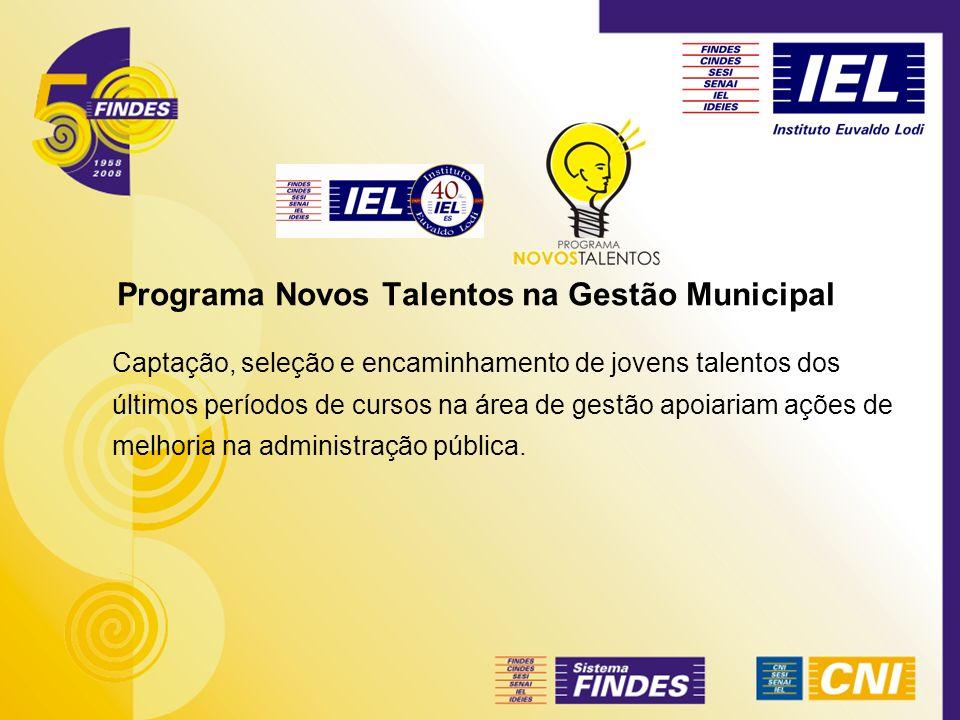 Programa Novos Talentos na Gestão Municipal Captação, seleção e encaminhamento de jovens talentos dos últimos períodos de cursos na área de gestão apo