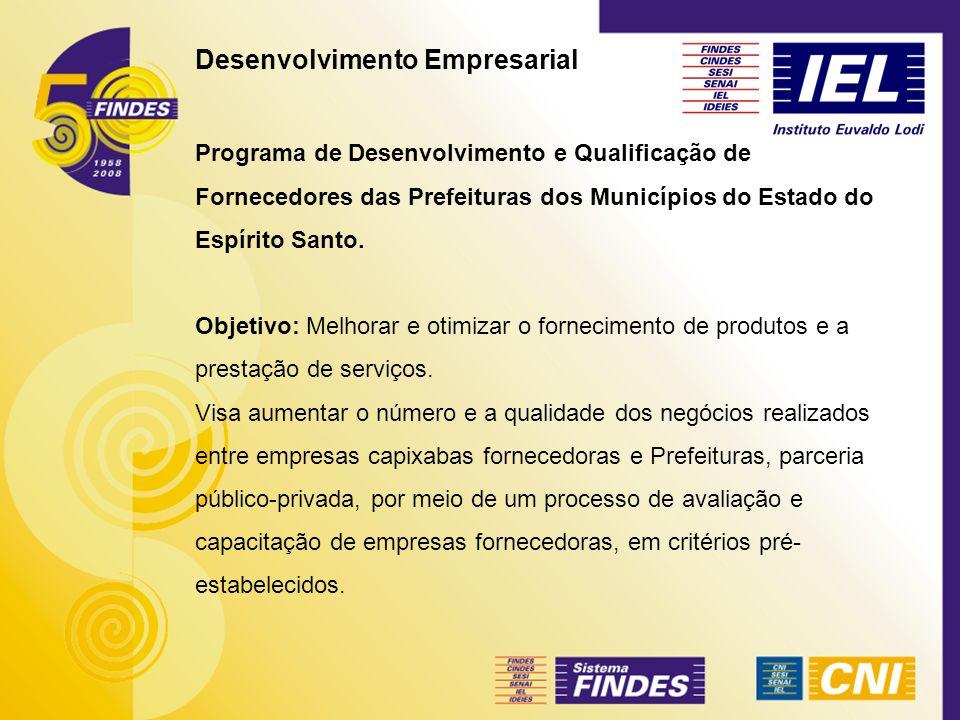 Desenvolvimento Empresarial Programa de Desenvolvimento e Qualificação de Fornecedores das Prefeituras dos Municípios do Estado do Espírito Santo. Obj