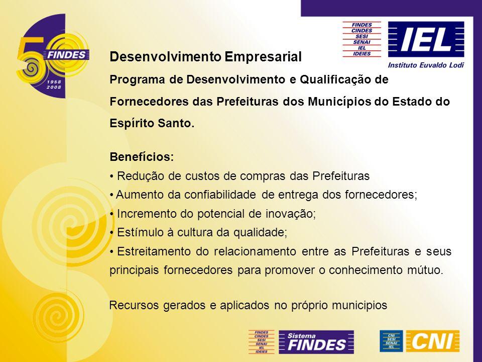 Desenvolvimento Empresarial Programa de Desenvolvimento e Qualificação de Fornecedores das Prefeituras dos Municípios do Estado do Espírito Santo. Ben