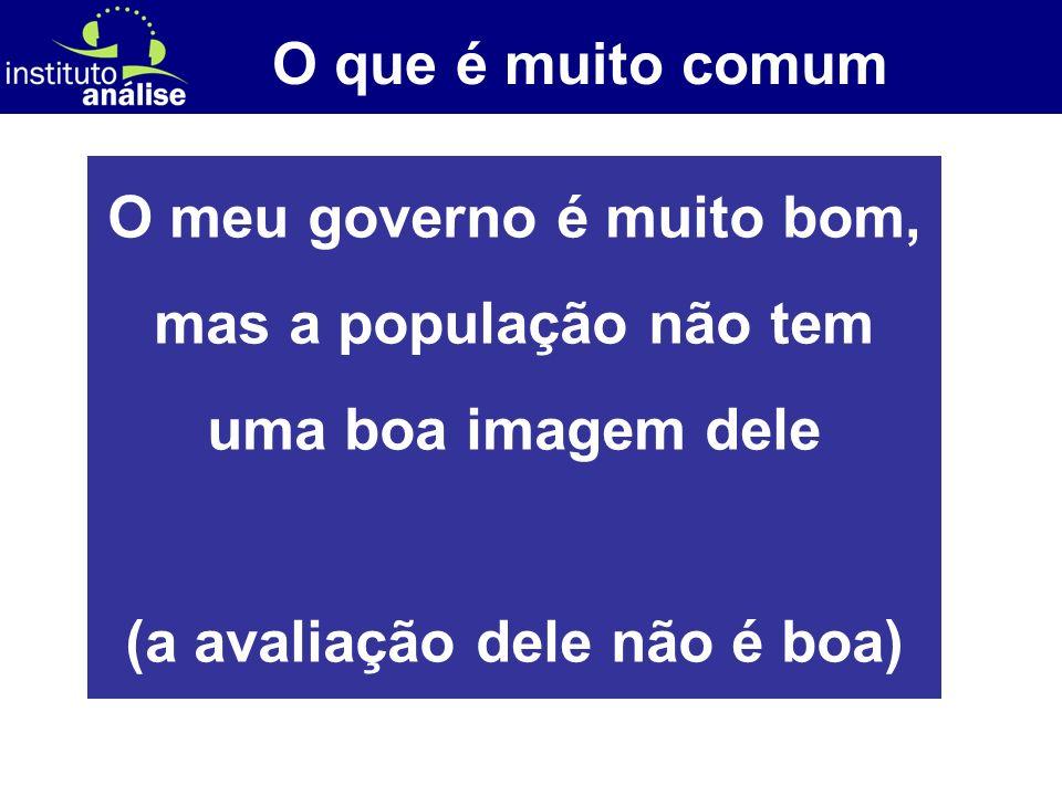 [ 11 ] O que é muito comum O meu governo é muito bom, mas a população não tem uma boa imagem dele (a avaliação dele não é boa)