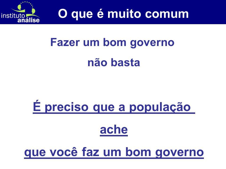[ 14 ] O que é muito comum Fazer um bom governo não basta É preciso que a população ache que você faz um bom governo