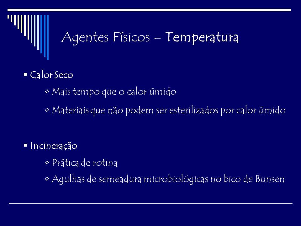 Agentes Físicos – Temperatura Baixas Temperaturas Abaixo de 0°C – microrganismos permanecem em estado latente Freezer doméstico: -20°C Freezer -70°C Nitrogênio líquido: -196°C