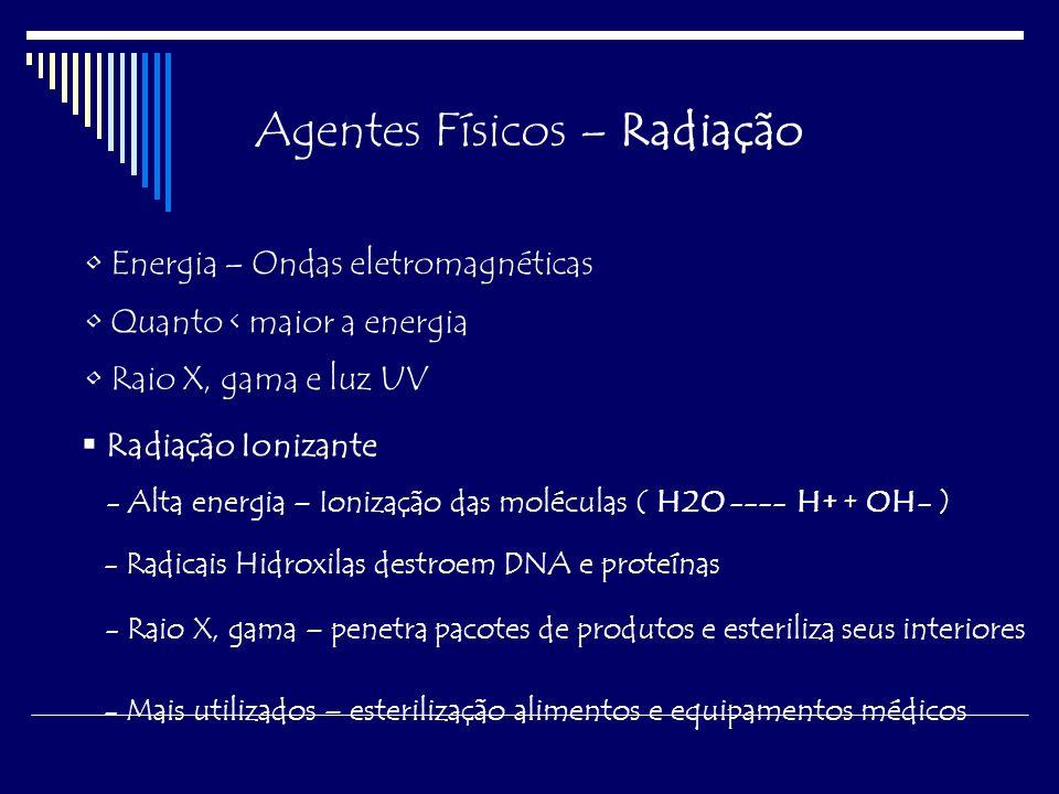 Agentes Físicos – Radiação Radiação Não-Ionizante Excitação de elétrons – Maior dano - DNA Mata apenas microorganismos de superfície Luz Ultra-Violeta