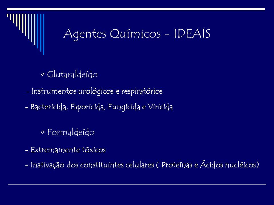 Agentes Químicos - IDEAIS Áreas de atuação Parede Celular -Fenol, Hipoclorito, Mertiolate Membrana Citoplasmática -Fenol, Álcoois, Detergentes Material Nuclear - Óxido de Etileno, Glutaraldeído, β-Propilactona Ribossomos - Sais de mercúrio, Glutaraldeído, fenol Citoplasma - Hipoclorito, Iodo, Óxido de Etileno, Metais pesados