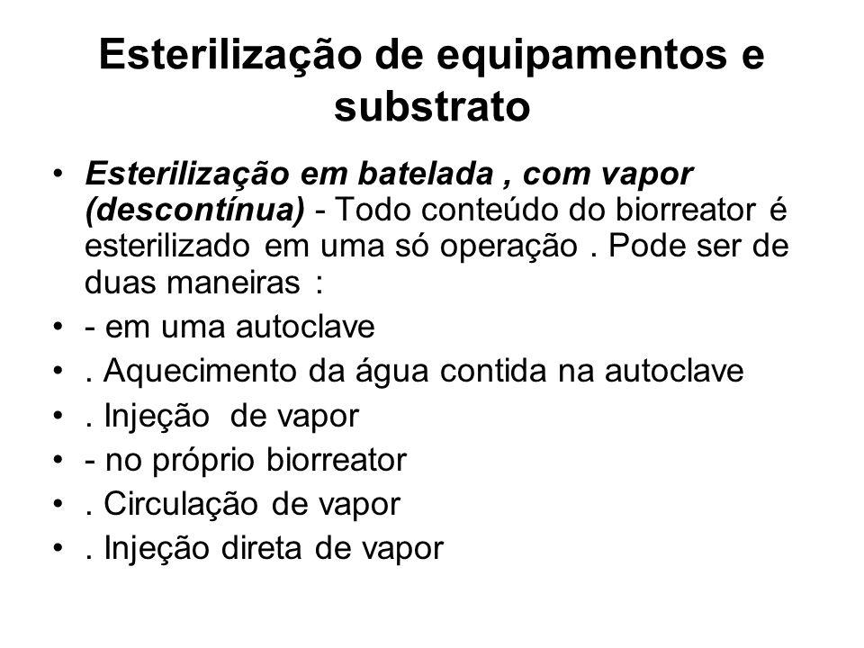 Esterilização de equipamentos e substrato Esterilização em batelada, com vapor (descontínua) - Todo conteúdo do biorreator é esterilizado em uma só operação.