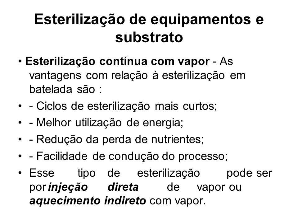Esterilização contínua com vapor - As vantagens com relação à esterilização em batelada são : - Ciclos de esterilização mais curtos; - Melhor utilização de energia; - Redução da perda de nutrientes; - Facilidade de condução do processo; Essetipodeesterilizaçãopodeser porinjeçãodiretadevapor ou aquecimento indireto com vapor.