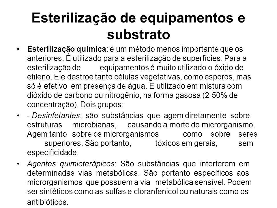 Esterilização de equipamentos e substrato Esterilização química: é um método menos importante que os anteriores.