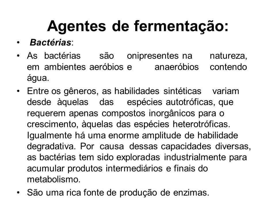 Agentes de fermentação: Bactérias: Asbactériassãoonipresentesnanatureza, emambientes aeróbioseanaeróbioscontendo água.