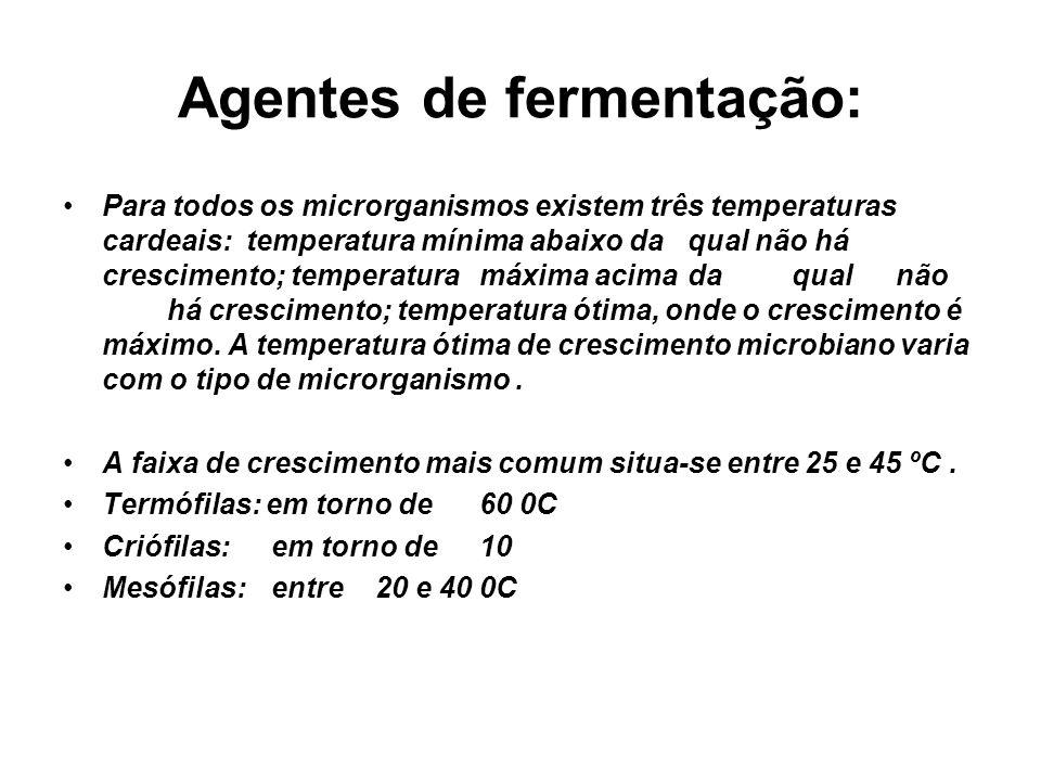 Agentes de fermentação: Para todos os microrganismos existem três temperaturas cardeais: temperatura mínima abaixo daqual não há crescimento; temperaturamáxima acimadaqualnão há crescimento; temperatura ótima, onde o crescimento é máximo.