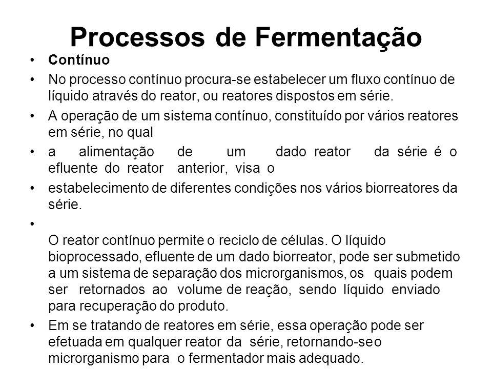 Processos de Fermentação Contínuo No processo contínuo procura-se estabelecer um fluxo contínuo de líquido através do reator, ou reatores dispostos em série.