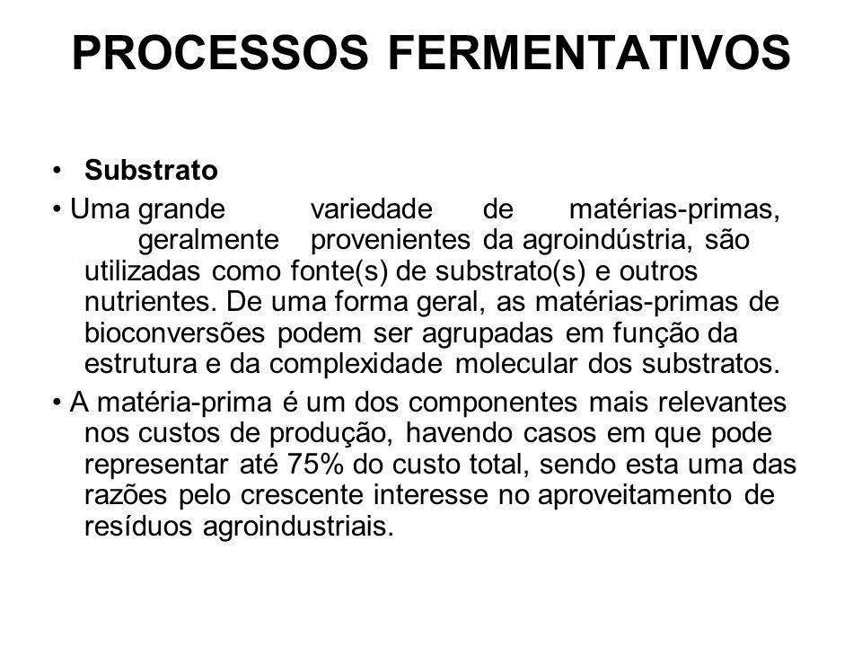 PROCESSOS FERMENTATIVOS Substrato Umagrandevariedadedematérias-primas, geralmenteprovenientesda agroindústria, são utilizadas como fonte(s) de substrato(s) e outros nutrientes.