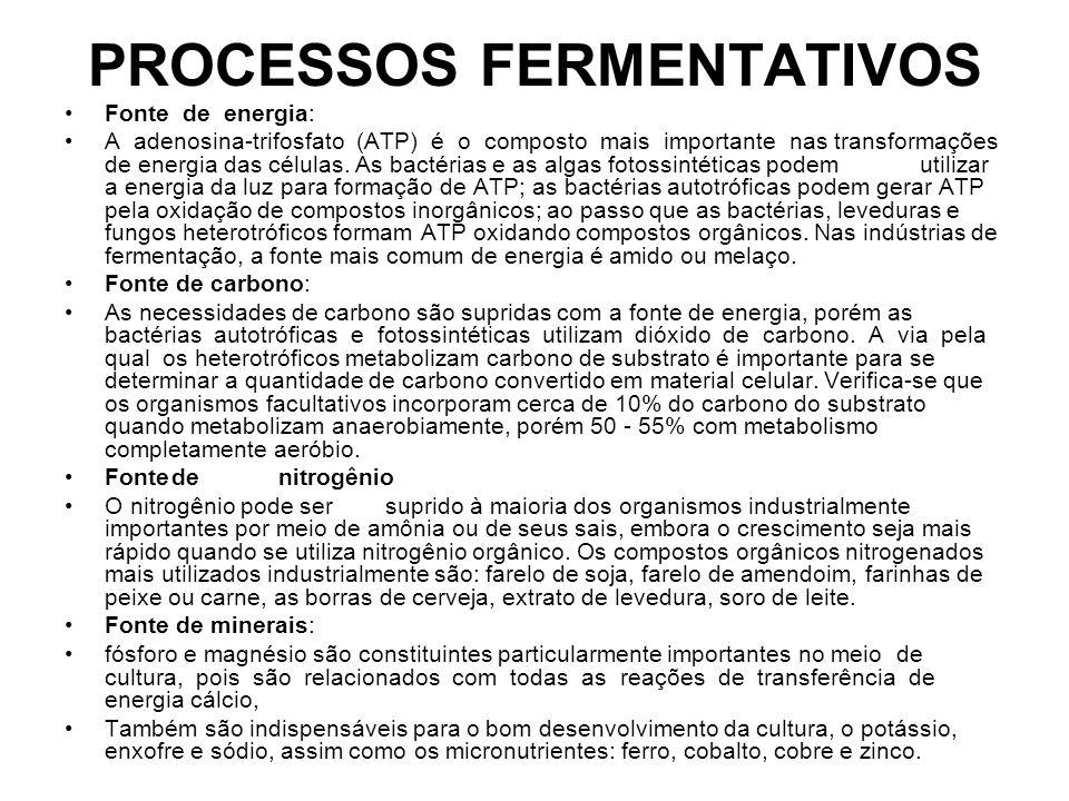 PROCESSOS FERMENTATIVOS Fonte de energia: A adenosina-trifosfato (ATP) é o composto mais importante nas transformações de energia das células.