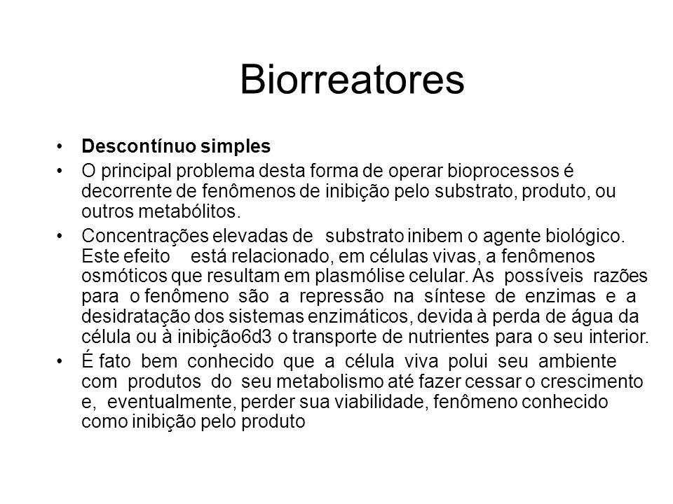 Descontínuo simples O principal problema desta forma de operar bioprocessos é decorrente de fenômenos de inibição pelo substrato, produto, ou outros m
