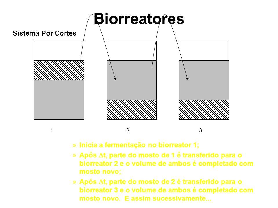 Biorreatores »Inicia a fermentação no biorreator 1; »Após t, parte do mosto de 1 é transferido para o biorreator 2 e o volume de ambos é completado co