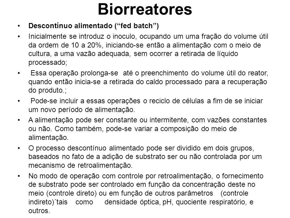 Biorreatores Descontínuo alimentado (fed batch) Inicialmente se introduz o inoculo, ocupando um uma fração do volume útil da ordem de 10 a 20%, inicia