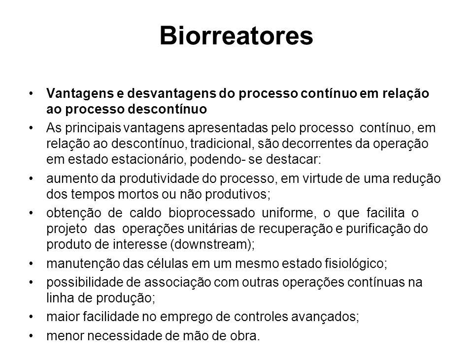 Biorreatores Vantagens e desvantagens do processo contínuo em relação ao processo descontínuo As principaisvantagens apresentadas pelo processocontínu