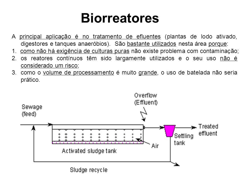 Biorreatores A principal aplicação é no tratamento de efluentes (plantas de lodo ativado, digestores e tanques anaeróbios). São bastante utilizados ne
