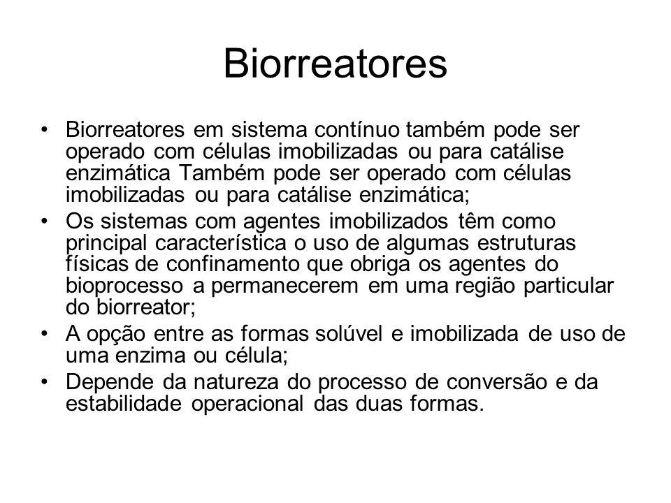 Biorreatores Biorreatores em sistema contínuo também pode ser operado com células imobilizadas ou para catálise enzimática Também pode ser operado com