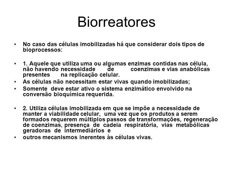 Biorreatores No caso das células imobilizadas há que considerar dois tipos de bioprocessos: 1. Aquele que utiliza uma ou algumas enzimas contidas nas