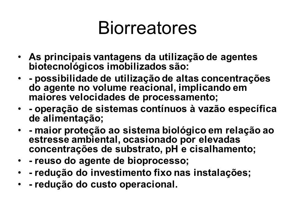 Biorreatores As principais vantagens da utilização de agentes biotecnológicos imobilizados são: - possibilidade de utilização de altas concentrações d