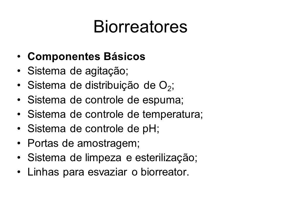 Biorreatores Componentes Básicos Sistema de agitação; Sistema de distribuição de O 2 ; Sistema de controle de espuma; Sistema de controle de temperatu