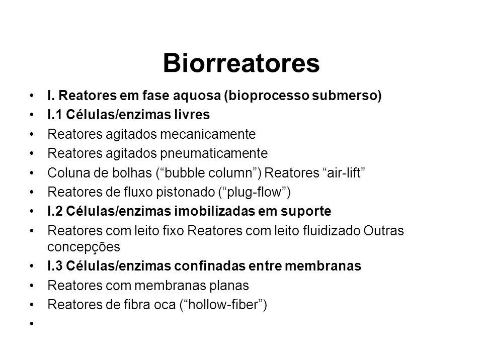 Biorreatores I. Reatores em fase aquosa (bioprocesso submerso) I.1 Células/enzimas livres Reatores agitados mecanicamente Reatores agitados pneumatica