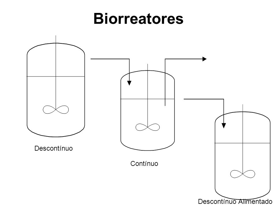 Biorreatores Descontínuo alimentado (fed batch) Inicialmente se introduz o inoculo, ocupando um uma fração do volume útil da ordem de 10 a 20%, iniciando-se então a alimentação com o meio de cultura, a uma vazão adequada, sem ocorrer a retirada de líquido processado; Essa operação prolonga-se até o preenchimento do volume útil do reator, quando então inicia-se a retirada do caldo processado para a recuperação do produto.; Pode-se incluir a essas operações o reciclo de células a fim de se iniciar um novo período de alimentação.