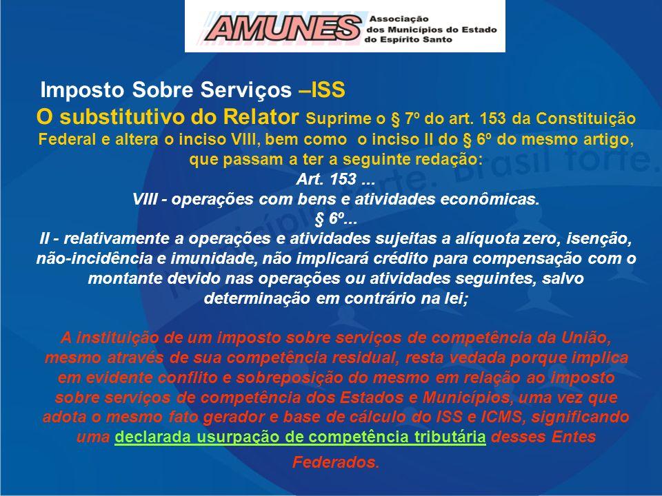 Imposto Sobre Serviços –ISS O substitutivo do Relator Suprime o § 7º do art. 153 da Constituição Federal e altera o inciso VIII, bem como o inciso II