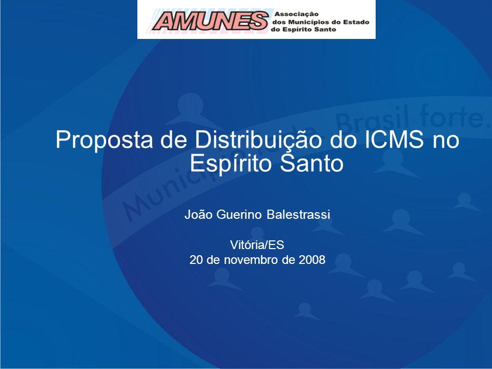 Proposta de Distribuição do ICMS no Espírito Santo João Guerino Balestrassi Cariacica/ES 19 de março de 2008 Proposta de Distribuição do ICMS no Espír