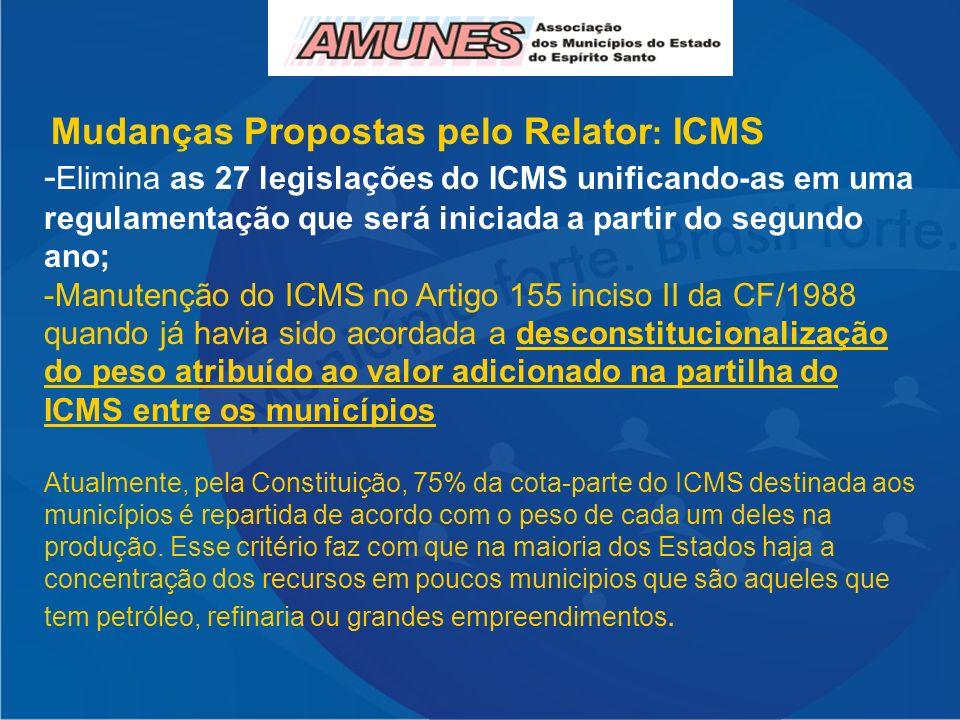 Mudanças Propostas pelo Relator : ICMS - Elimina as 27 legislações do ICMS unificando-as em uma regulamentação que será iniciada a partir do segundo ano; -Manutenção do ICMS no Artigo 155 inciso II da CF/1988 quando já havia sido acordada a desconstitucionalização do peso atribuído ao valor adicionado na partilha do ICMS entre os municípios Atualmente, pela Constituição, 75% da cota-parte do ICMS destinada aos municípios é repartida de acordo com o peso de cada um deles na produção.