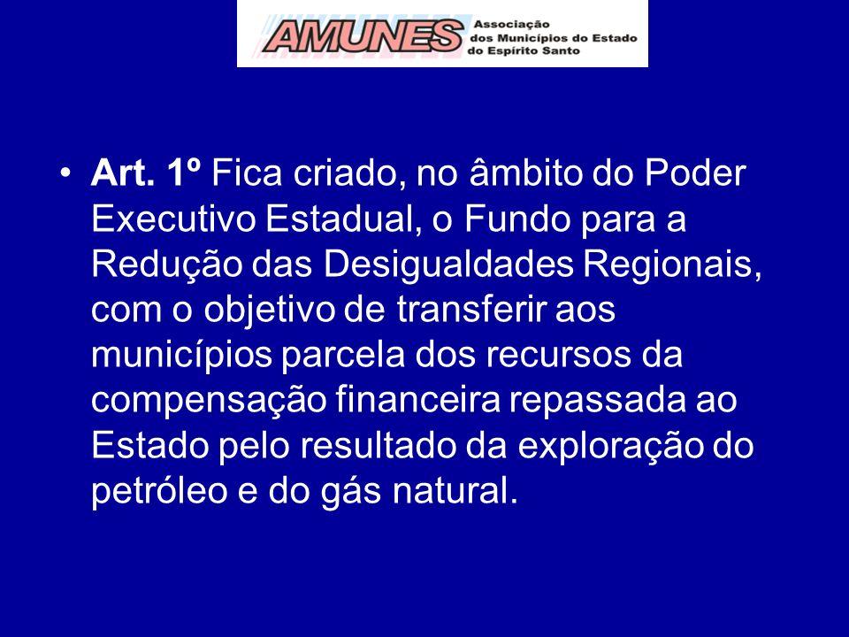 Art. 1º Fica criado, no âmbito do Poder Executivo Estadual, o Fundo para a Redução das Desigualdades Regionais, com o objetivo de transferir aos munic