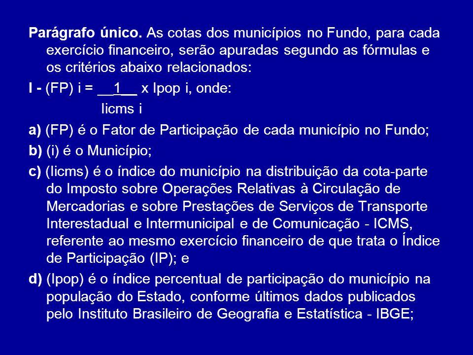 Parágrafo único. As cotas dos municípios no Fundo, para cada exercício financeiro, serão apuradas segundo as fórmulas e os critérios abaixo relacionad